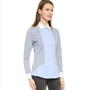 Jonathan Simkhai Cutout Tailored Oxford Shirt